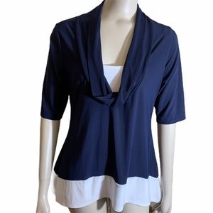 5/25.00 Jason Maxwell Blue and White Drop Necked